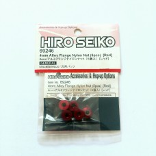 Hiro Seiko 4mm Alloy Flange Nylon Nut [Red)