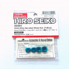 Hiro Seiko 4mm Alloy Serrated Wheel Nut [T-Blue]